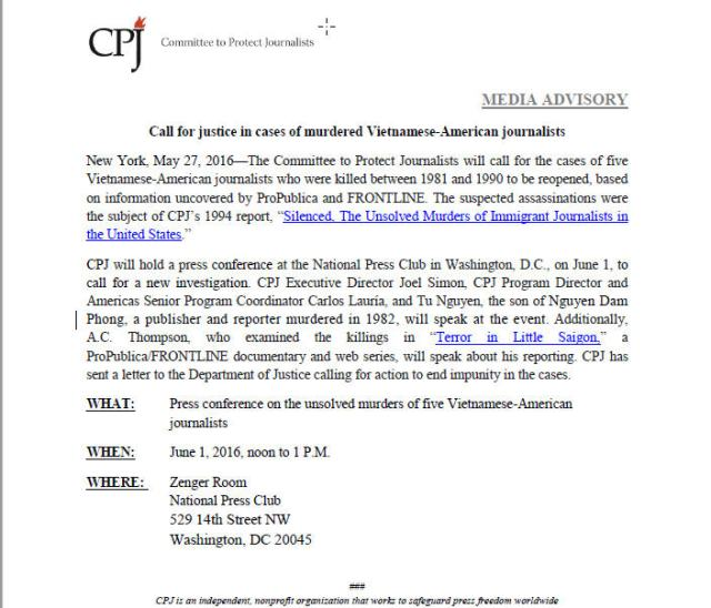 CPJ Letter