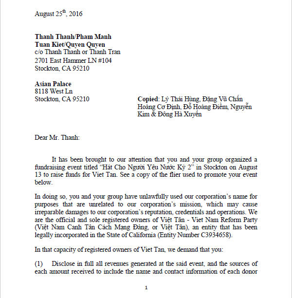 Letter to BTC1